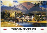 Wales, Vintage British Railway Travel Poster.  Fishing. Conway Castle with Snowdon in the background